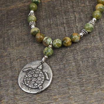 """Turtle necklace, green and brown rhyolite beads, sink or swim 20"""" long 50cm"""