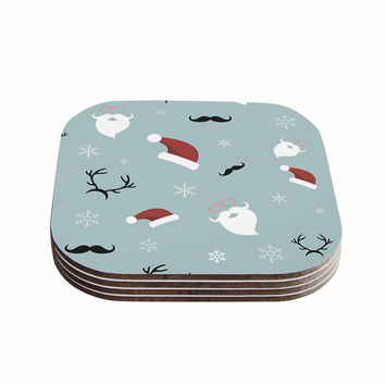 "Louise ""Happy New Year!"" Christmas Teal Santa Coasters (Set of 4)"