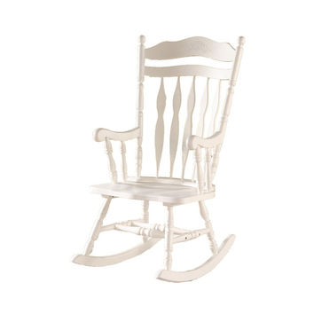 Antique White Embossed Back Solid Wood Rocking Chair