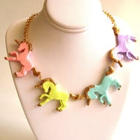 Unicorn Necklace Pastel Rainbow Unicorn Statement Necklace Kawaii Necklace Couture Necklace Kawaii Jewelry Rainbow Jewelry