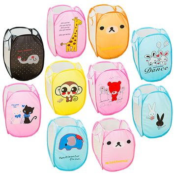 10 Styles Cute Cartoon Animal Foldable Toys Shoes Organizer Sundries Storage Box Mesh Laundry Dirty Clothing Clother Basket Case