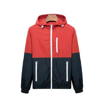 Men's Fashion Thin Windbreaker Jacket Zipper Coats