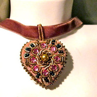 40s Velvet Heart / Pink Rhinestones, Seed Pearl Heart Necklace / Velvet Choker or Necklace