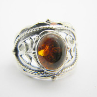 Sterling silver amber ring, silver gemstone ring, size 6.5 cocktail ring, Oval amber natural stone, Amber jewelry, honey color stone