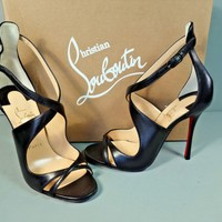 LOUBOUTIN 37 MALEFISSIMA 100 Black Criss Cross Strap Peep Toe Sandals Pumps NEW