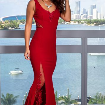 Burgundy Embroidered Maxi Dress with Lace Detail