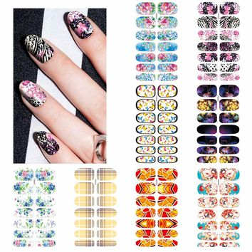 ZKO 1 Sheet Optional Beautiful Full Cover Wraps Nails Decals Water Transfer Nail Art Stickers
