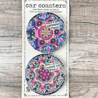 """Make A Difference"""" Set of 2 Car Coasters"""