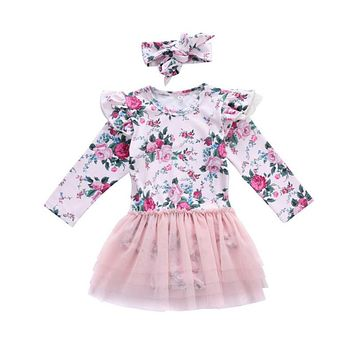 Cute Newborn Baby Girl Floral Clothes Ruffles Long Sleeve Tutu Lace Skirted Jumpsuit +Headband 2PCS Outfits Toddler Kids Sunsuit