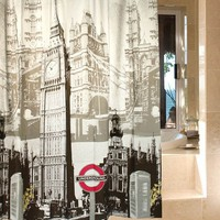 Waterproof Mildew Shower Curtain, Big Ben, the Eiffel Tower, the Statue of Liberty Variety (Size: 180cm by 180cm by 1cm, Color: White)