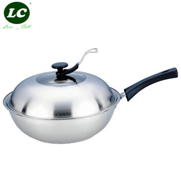 WOK PAN 32CM COOKING POT  NO COATING NON-STICK KITCHEN UTENSIL  WITH STAND COVER