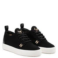 Giuseppe Zanotti Gz Gordon Black Suede Low-top Sneaker