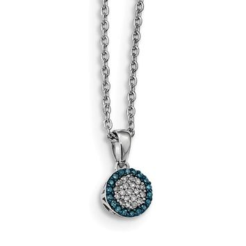 1/8 Ctw Blue & White Diamond Tiny 7mm Round Sterling Silver Necklace