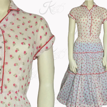Vintage 50s Dress, 1950s Dress, 50s Floral Dress, 50s Sheer Dress, 1950s Small Dress, Full Skirt, Sundress, 50s Day Dress, Fifties Dress