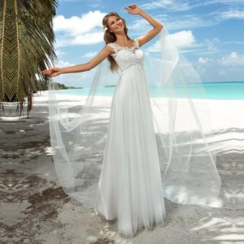 Summer Boho Beach Wedding Dresses For Pregnant Women Maternity Empire Lace Bridal Gowns Plus Size Floor Length