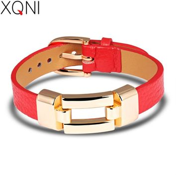 XQNI Leather Charm Bracelets For Woman Man Personality Black/Red Color Stainless Steel Women Men Jewelry Bracelet Gift