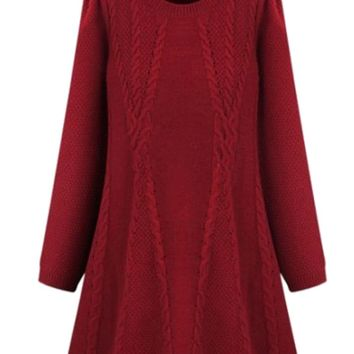 Long-Sleeve A-Line Knitted Dress