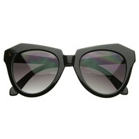 Modern Thick Cat Eye / Horn Rimmed Cross Sunglasses Edgy Retro Style Eyewear