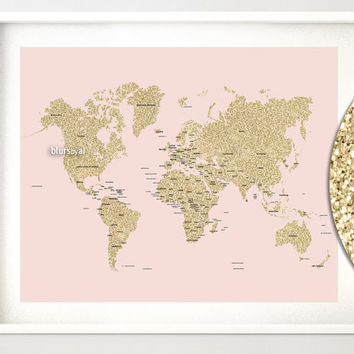"""20x16"""" Printable world map, golden glitter world map with countries, country names, gold glitter gold and blush pink nursery - map039 004"""