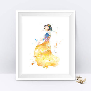 Snow white print, Princess Poster, Watercolor Poster, Disney Princess, Disney Snow White, Kids Decor, Wall art, gift, home decor