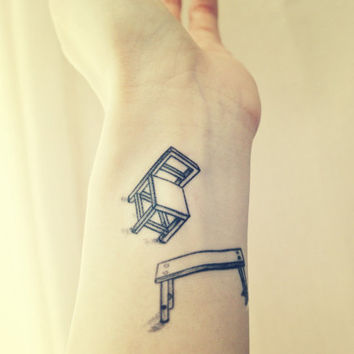 InknArt Temporary Tattoo - childhood wooden chair illustration wrist quote tattoo body sticker fake tattoo wedding tattoo small tiny tattoo