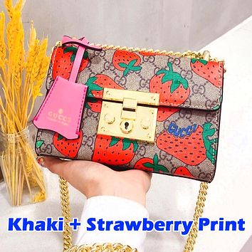 GUCCI.Padlock series ladies Mickey Bag Strawberry Optional Khaki Red