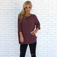 Fall Harvest Knit Top in Plum
