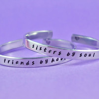 friends by heart / sisters by soul - Hand Stamped Aluminum Cuff Bracelets Set, Handwritten Font, Forever Love, Friendship, BFF