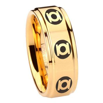 8MM Glossy Gold Step Edges Multiple Green Lantern Tungsten Carbide Laser Engraved Ring