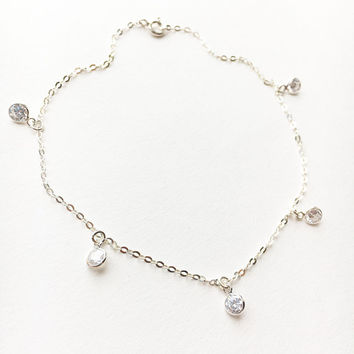 Swarovski Anklet • Crystal Anklet • Sterling Silver Anklet • Personalized Gift • Foot Bracelet • Summer Jewelry • Bridesmaid Anklet