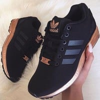 """simpleclothesv : Womens """"Adidas"""" ZX Flux Black Copper Rose Gold Metallic NMD"""