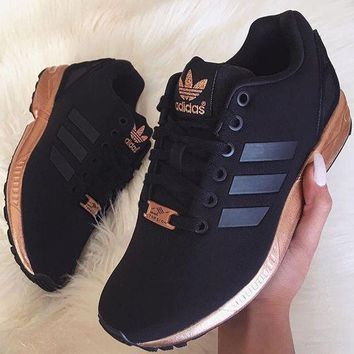 "simpleclothesv : Womens ""Adidas"" ZX Flux Black Copper Rose Gold Metallic NMD"