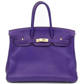 Authentic Hermes Birkin 35 cm Iris Togo Clemence Tote Bag Ghw Purple Stamp O