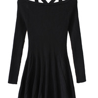 Black Pleated Knitted Mini Dress