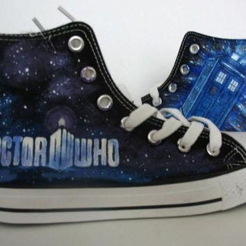 DCCK1IN doctor who blue custom converse hand painted shoes canvas shoes