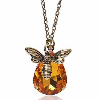 *FREE* New Copper Crystal Bumble Bee Necklaces