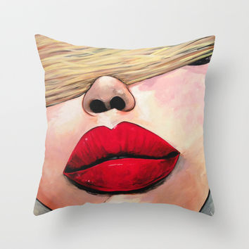 Put Some Red Lipstick On Throw Pillow by LaceyKobyArt