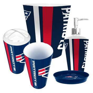 New England Patriots NFL Complete Bathroom Accessories 5pc Set
