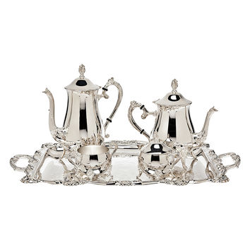 Godinger Coffee Set with Tray (5 PC) - Silver