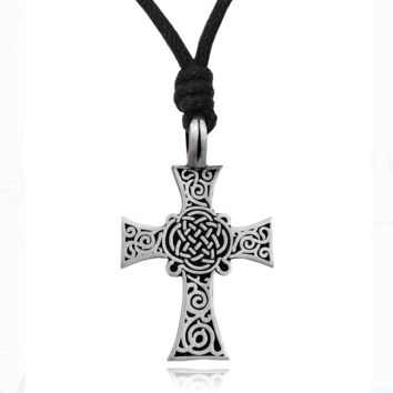 Vintage Classic Celtic Cross Silver Pewter Charm Necklace Pendant Jewelry With Cotton Cord