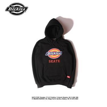 Dickies Fashion Casual Male Female Solid Color Letter Embroidery Small Logo Long Sleeve Hooded Loose Couple Cotton Sweater