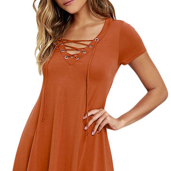 Orange Casual Lace-up Swing Dress
