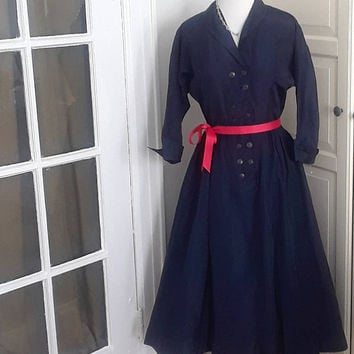 "1950s Navy Taffeta Lucy Dress, Attached Red/White Polka Dot Petticoat, Full Circle Skirt, Size Small, 26"" Waist"