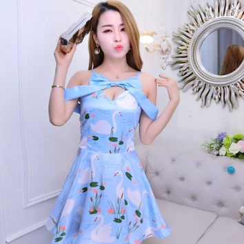 Cute Off Shoulder Sweet Floral Print Mini Dress Bow Slash Neck Japanese Princes Fashion Pleated Summer Dress Watercolor Painting