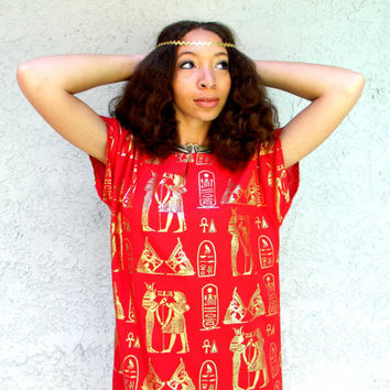 Vintage 90s Red Egyptian Caftan Tunic Dress w Metallic Gold King Tut, Queen Nefertiti, Onk Print - Afrocentric Maxi Dress - Size M L