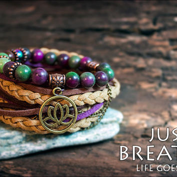 Boho wrap bracelet Gypsy wrap bracelets Gemstone bracelet Purple brown Lotus charm bracelet  Gypsy boho style Yoga bracelets Set of two