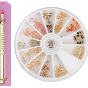 HOT 12 colors/set 120pcs Colorful Pearl Gold Nail Art Dangle Ring Charm Drill Set Nail Manicure Nail Art Decors Wheel Charms