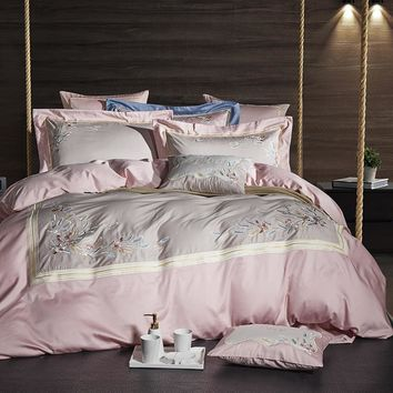 Cool Pink Grey Luxury Egyptian Cotton Bedsheet set Oriental Embroidery Bedding set Queen King size Quilt/Duvet cover Bed set PillowsAT_93_12