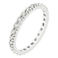 Clear Cubic Zirconia Eternity Ring, size : 09