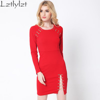 lztlylzt women spring Autumn clothes 2016 red sexy elegant Split ends chain dresses long sleeve club party bandage dress female